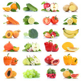 Fruit many fruits and vegetables collection isolated apple oranges grapes tomatoes colors