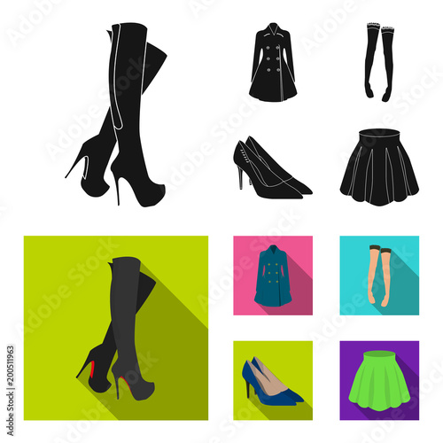 Women high boots, coats on buttons, stockings with a rubber band with a pattern, high-heeled shoes. Women clothing set collection icons in black, flat style vector symbol stock illustration web. - 200511963