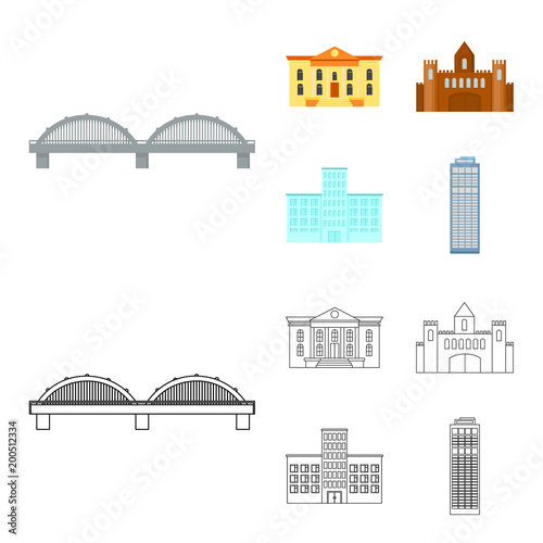 Museum, bridge, castle, hospital.Building set collection icons in cartoon,outline style vector symbol stock illustration web. - 200512334