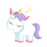 Cute cartoon  unicorn on white background. Vector isolated object.