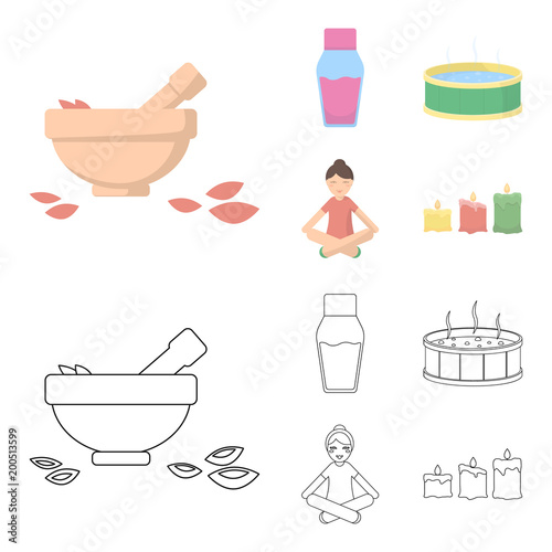 A bowl with flower petals and tolkushka, a bottle with ointment or cream, a pool with water, a woman in a yoga pose. Spa set collection icons in cartoon,outline style vector symbol stock illustration