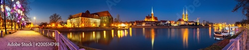 obraz PCV Cityscape, evening panorama - view on the embankment river Odra of the city Wroclaw and its old district Ostrow Tumski, Lower Silesia Province, The Poland