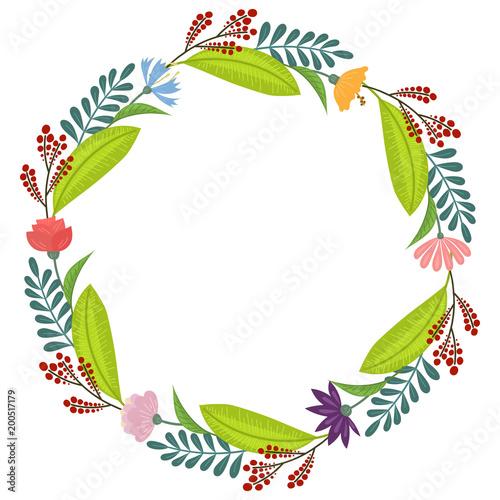 Wieniec z tropikalnych kwiatów i liści doodle stylu, projekt pocztówki i zaproszenie. Wektor
