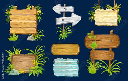 Cartoon game panels in jungle style against a dark background, wooden gui elements with leaves.