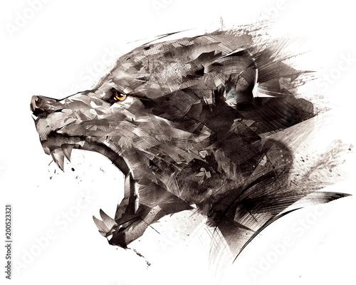 Leinwandbild Motiv sketch wolf wolf sideways on a white background