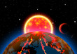 Scenic space landscape with sun or star and planets or satellites - 200526190