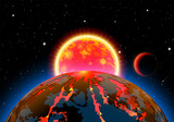 Scenic space landscape with sun or star and planets or satellites