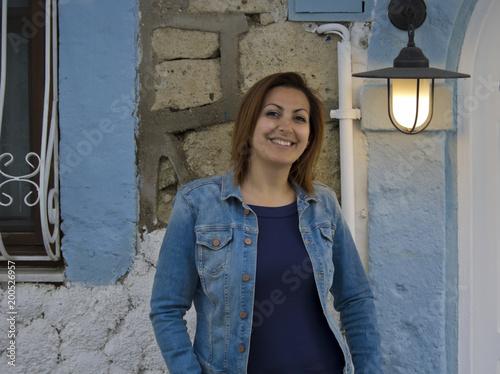 Sticker Beautiful woman portrait in Cesme,Turkey