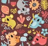 Seamless pattern with a koala