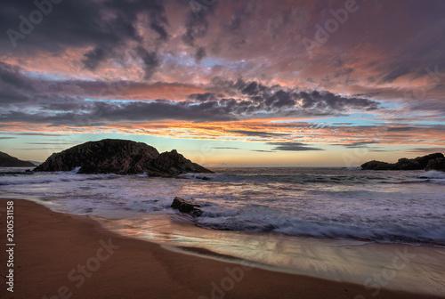 Fotobehang Zee zonsondergang Murder Hole Beach Fantastic sandy beach at sunset Donegal Ireland