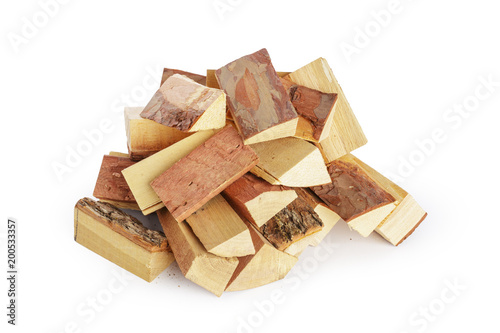 Pile of firewood isolated on a white background - 200533357