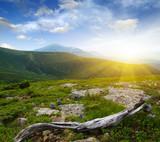 Mountain landscape on sun