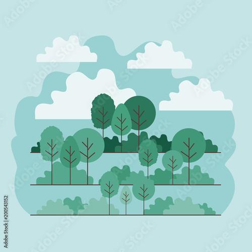 Fotobehang Lichtblauw forest landscape scene icon