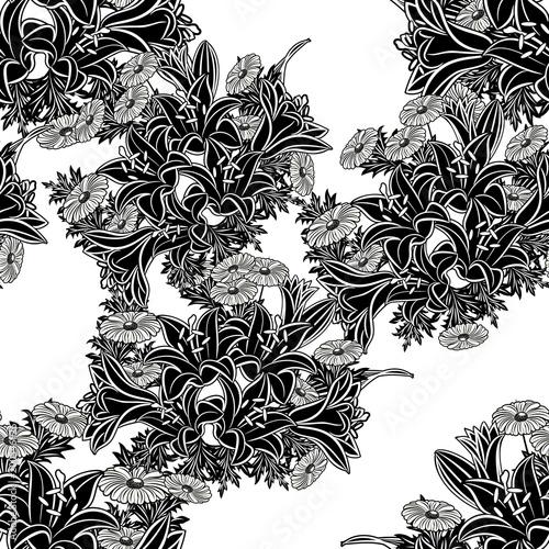 bezszwowe monochromatyczne wzór kwiatów dla karty z pozdrowieniami, tło, metki