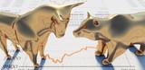 Goldener Bulle und Bär Closeup auf Zeitung - 200549124