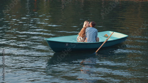 Romantic couple on the lake