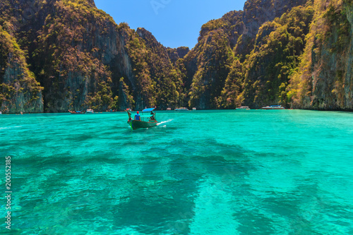 Plexiglas Groene koraal Ao Pi Leh is snorkeling point famous tour lagoon in Phi Phi Islands, Krabi , Thailand
