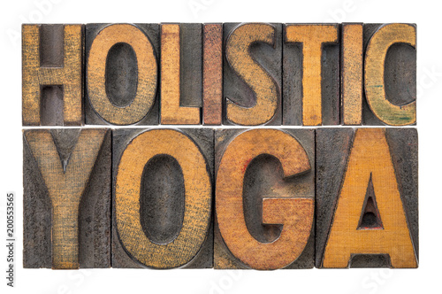 Foto op Aluminium School de yoga holistic yoga word abstract in wood type