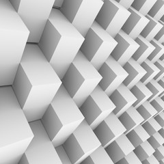 White rotated 3D blocks wall