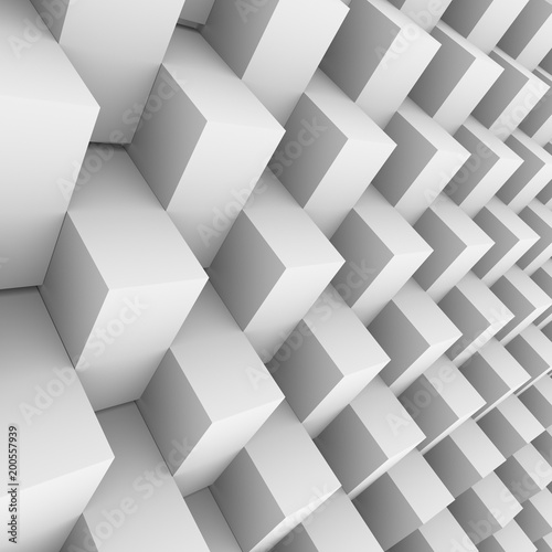 White rotated 3D blocks wall