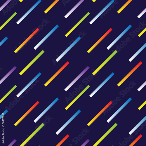 Geometric, abstract seamless pattern. Bright neon. stripes on a blue background. Texture for fabric and backgrounds. Vector illustration.