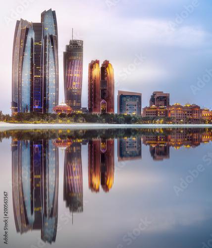 Aluminium Abu Dhabi View of Abu Dhabi Skyline at sunrise, UAE