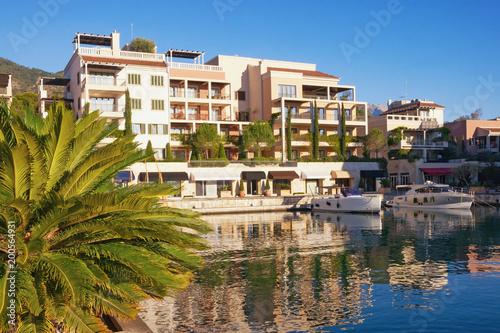 Montenegro, Tivat city. View of Porto Montenegro Village on sunny autumn day