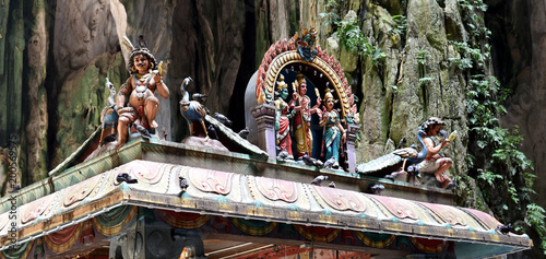 Plexiglas Kuala Lumpur Hindu shrines with colorful figures - detail of temple inside the Batu Caves - Kuala Lumpur, Malaysia