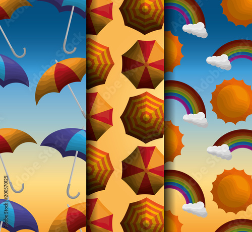 season summer degrade background yellow blue umbrellas hot day rainbows vector illustration