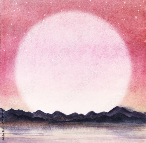 Landscape is a dark silhouette of mountain chain on the far side of the lake against the backdrop of pink sky and round giant moon or the rising sun and milk stars. Hand drawn watercolor  background - 200573953