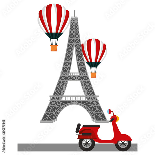 Sticker tower eiffel paris scooter and hot air balloons vector illustration