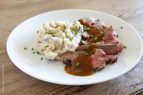 Fotobehang Steakhouse Sliced Beef and Mashed Potatoes