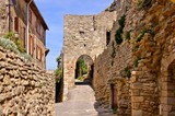 Ancient gate in the medieval walls of Saignon, Provence, France
