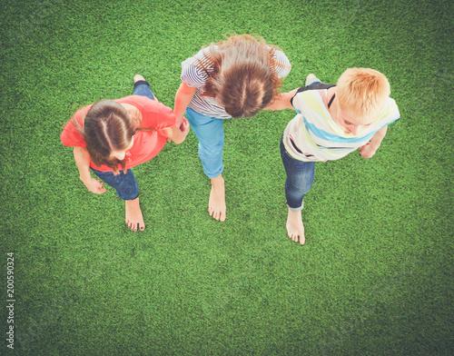 Młode kobiety kłama na zielonej trawie. Młode kobiety