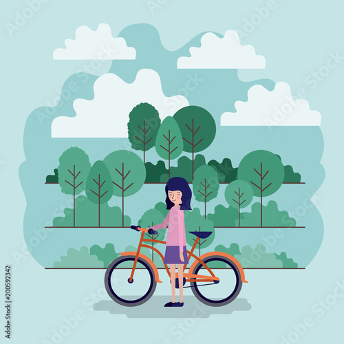 Foto op Plexiglas Lichtblauw woman in the park scene with bicycle