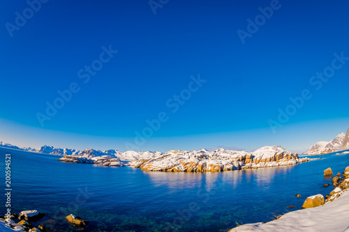 Foto op Plexiglas Donkerblauw Beautiful outdoor view of snowy winter in the Arctic Circle