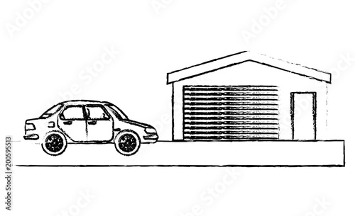 samochód sedan elektrowni obraz wektor ilustracja szkic