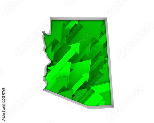 Foto op Canvas Arizona Arizona AZ Arrows Map Growth Increase On Rise 3d Illustration
