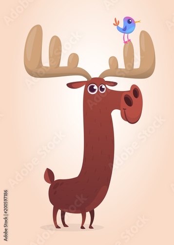 Cute cartoon moose character. Wild forest animal collection. Baby education. Isolated on white background. Flat design Vector illustration - 200597186