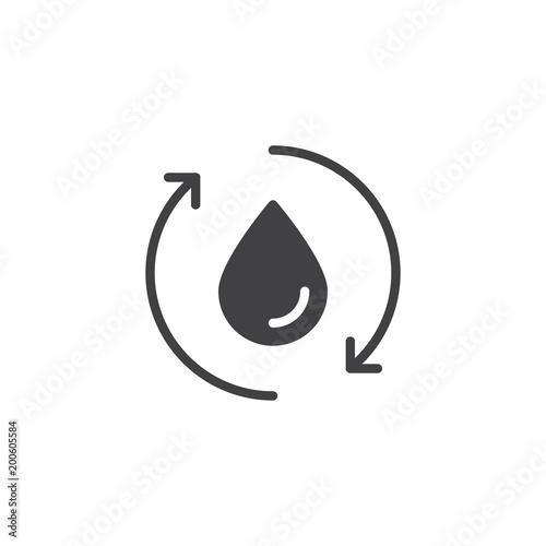 Kropla wody na rowerze strzałki wektor ikona. wypełnione mieszkanie znak dla koncepcji mobilnych i projektowanie stron internetowych. Ekologia Odzyskuj proste proste ikony. Symbol, ilustracja logo. Doskonała grafika wektorowa pikseli