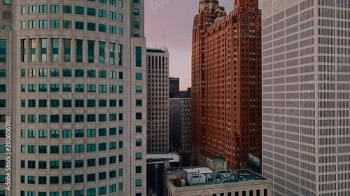 Sweeping drone shot of office buildings