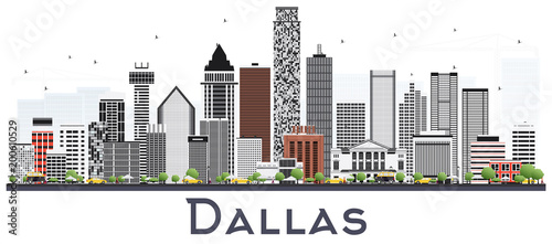Dallas Texas City Skyline with Gray Buildings Isolated on White.