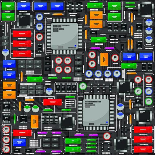 Wzór płyty elektrycznej, z elementami elektronicznymi. Wszystkie elementy elektroniczne znajdują się w oddzielnych grupach i można nimi łatwo manipulować.