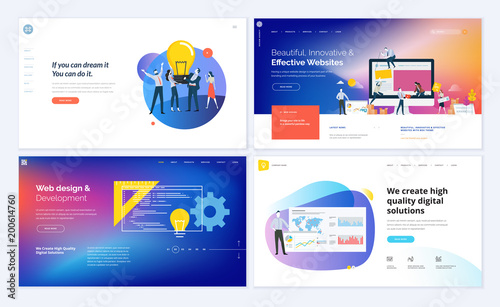Set of creative website template designs. Vector illustration concepts for website and mobile website design and development. Easy to edit and customize. - 200614760