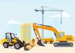 Bagger und Radlader auf der Baustelle - 200646942