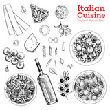 Italian cuisine sketch. A set of Italian dishes with pasta and meatballs, pizza, ravioli and ingredients. Food menu design template. Vintage hand drawn sketch vector illustration. Engraved image - 200646905