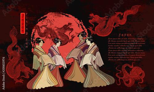 Japan art. Asian culture. Geisha and dragons. Traditional Japanese culture, red sun, dragons and geisha woman