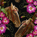 Embroidery horse head and wild flowers seamless pattern. Fashionable template tapestry flowers renaissance. Classic style embroidery, horse and beautiful flowers pattern - 200654117
