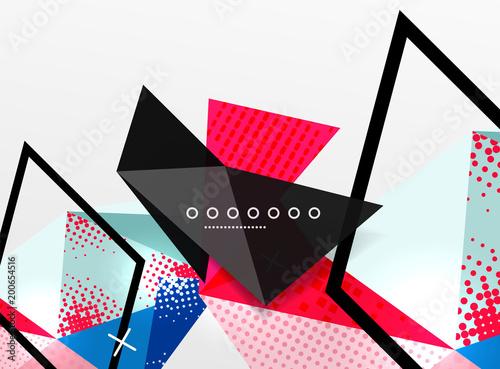 Wektorowego koloru geometryczny abstrakcjonistyczny skład, trójgraniaste i poligonalne projektów elementy, cyfrowy tło
