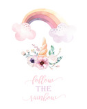 Isolated cute watercolor unicorn clipart with flowers. Nursery unicorns illustration. Princess rainbow poster. Trendy pink cartoon pony horse. - 200657157